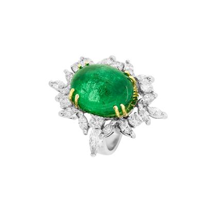 0d7017565fc + Detalhes · imagem de Anel de ouro branco com esmeralda e navetes
