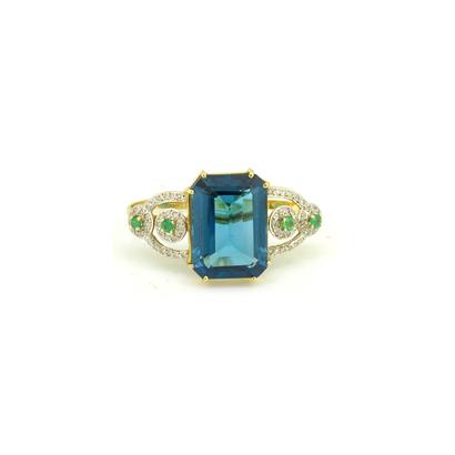 a992f2fb497 + Detalhes · imagem de Anel dois dedos de ouro com toázio london blue